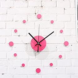 CGGHY 16 Inch Wall Clock Pink Simple Diy Silent Wall Clock Wedding Room Bedroom Photo Wall With Creative Personality Paste Wall Clocks Pink Dot