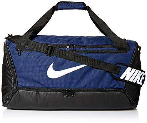 Nike Brasilia Training Medium Duffle Bag, Durable Duffle Bag for Women & Men with Adjustable Strap, Midnight Navy/Black/White