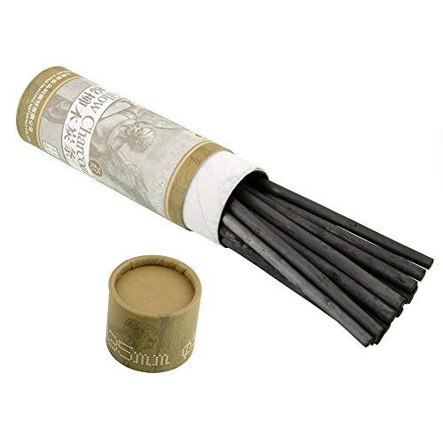 WarmShine 2Tube/40Pcs Natural Cotton Charcoal Sketch Pen Sketch Charcoal Bar Sketch Charcoal Pen for Charcoal Dark Black Pencils Oil Painting Sketch Drawing