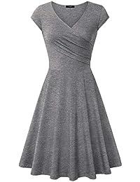 Elegant Dresses, Womens Casual Dress A Line Cap Sleeve V...