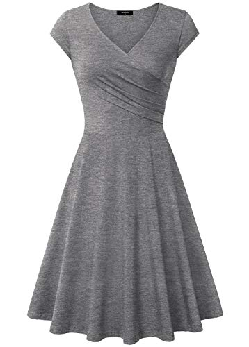 Lotusmile Ball Midi Dress, Women Lightweight Party Cocktail Swing Dress,XX-Large Dark - Knit Gray Dress