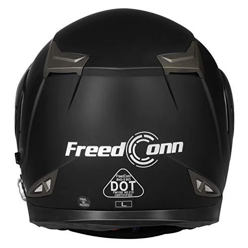 Motorcycle Bluetooth Helmets, FreedConn Flip up Dual Visors Full Face Helmet Built-in Integrated Intercom Communication System(Range 500M,2-3Riders Pairing,FM radio,Waterproof) (Matte Black, M)