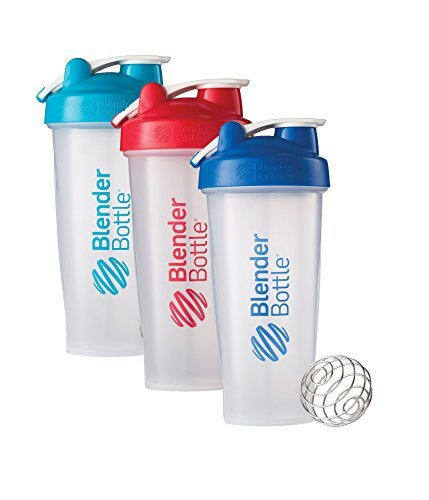28 Oz. Hook Style Blender Bottle W/ Shaker Bundle-Clear Aqua/Red/Blue