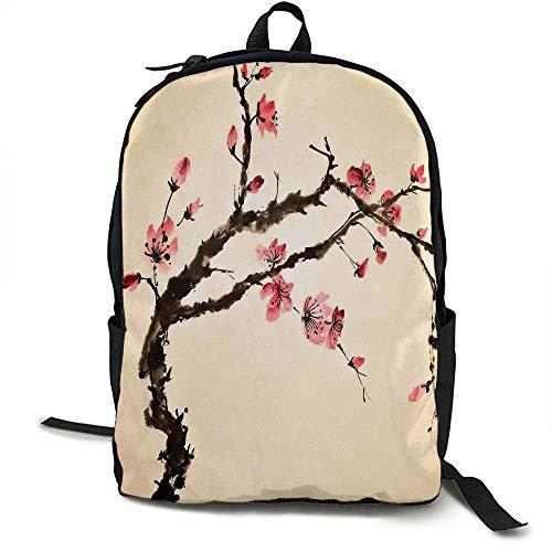 - Japanese Light travel backpack Traditional Chinese Paint of Figural Tree with Details Brushstroke Effects Print Multi-functional daily carrying 16.5 x 12.5 x 5.5 Inch Pink Brown