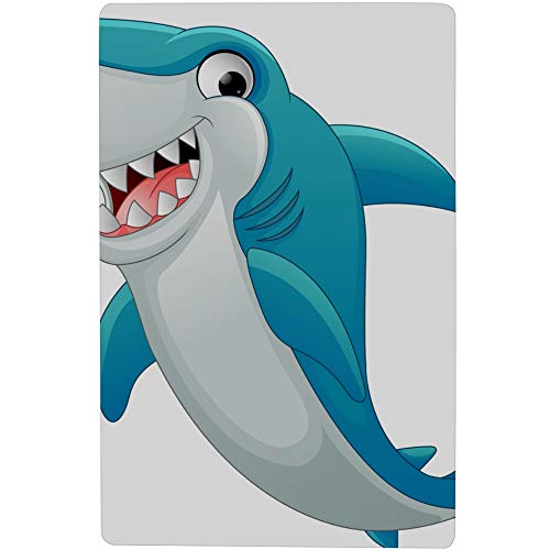 MOVTBA 16.5 x 28.7 Non Slip Shower Mats Cartoon Cute Childlike Shark Sunglasses Print Shower Mats Kids with Powerful Suction Cup for Kids&Elderly ()