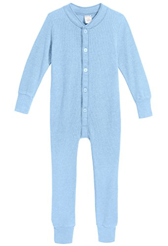 City Threads Little Boys and Girls' Union Suit Thermal Underwear Set Long John Onesie Footie Perfect for Sensitive Skin and Sensory Friendly SPD, Bright Light Blue , 3T