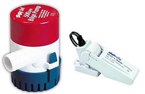 (Rule 25-35A Submersible Bilge Pump A-Matic Float Switch, 500 GPH, 12)