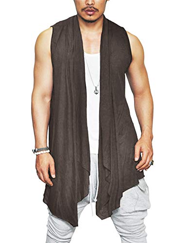 (COOFANDY Men's Ruffle Shawl Collar Cardigan Sleeveless Open Front Vest Lightweight Cotton Long Length Drape Cape (Coffee, Small))