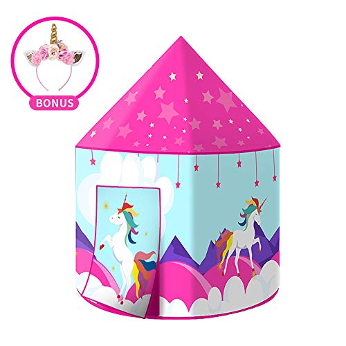 (Wonder Space Princess Unicorn Play Tent, Fairy Unicorn Pop Up Playhouse for Children, Girl's Indoor & Outdoor Dream Party Castle, Comes with Cute Unicorn Headband & Portable Carrying Case)