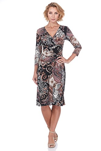 - Rekucci Women's Slimming 3/4 Sleeve Fit-and-Flare Crossover Tummy Control Dress (18,Blush Paisley)