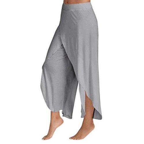 Femmes Grau Pantalons Jupes Loisirs Écrans Plus Monochrome Larges Mode Irrégulière Haute Estivale Temps Taille qE77O5fn