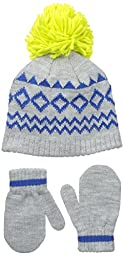 Nolan Gloves Big Boys\' Knox Geometric Beanie Set, Grey/Blue/Lime, 2-4T