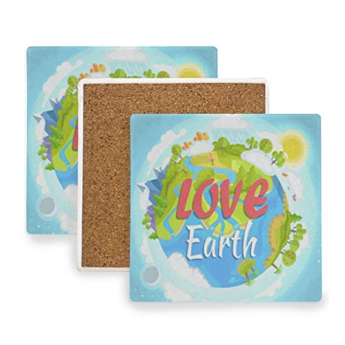 (World Environment Day Love Earth Coasters, Protection for Granite, Glass, Soapstone, Sandstone, Marble, Stone Table - Perfect Wood Coasters,Square Cup Mat Pad for Home, Kitchen or Bar Set of 4)