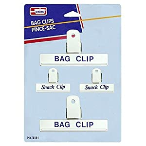 White Bag Clips 2 Large and 2 Small