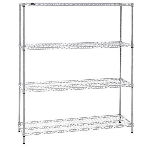 HUBERT Wire Shelving Unit With 4-Shelves Chrome Plated - 60