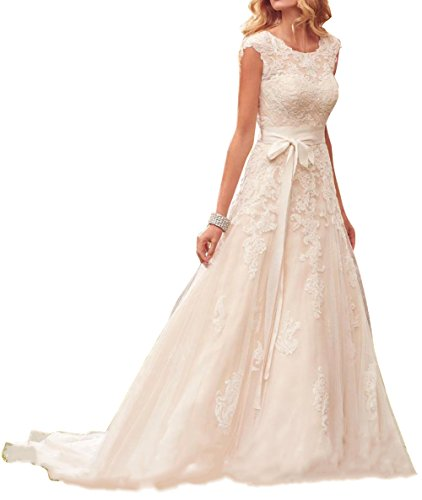 - Ethel Women's Bohemian Cap Sleeves Jewel Neck Wedding Dresses
