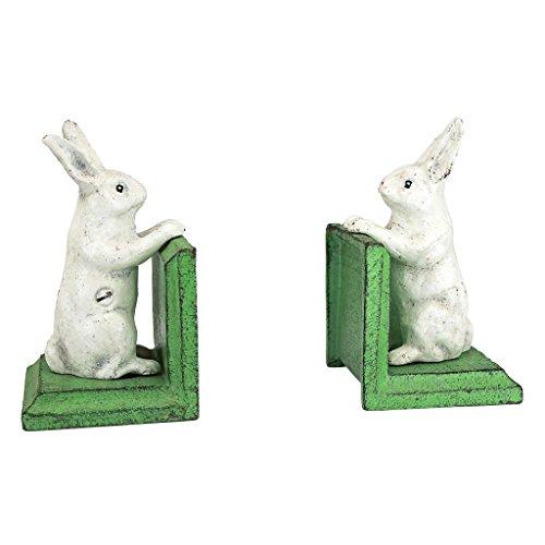 Design Toscano Bookworm Bunny Rabbits Cast Iron Sculptural Bookend Pair