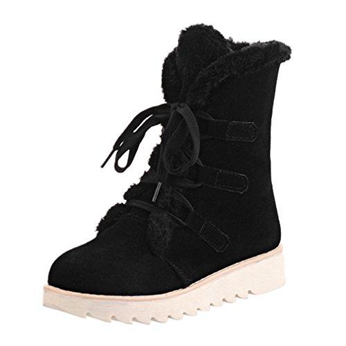 ENMAYER mujeres suede suave lindo mujeres botas de nieve toe plana plana con botas de piel de invierno botas Negro