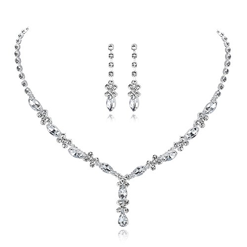 UDORA Rhinestones Necklace Earrings Jewelry Sets for Wedding Bridal Party (t1214)