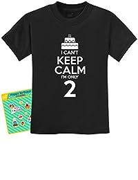 2nd Birthday Cake - I Can't Keep Calm I'm Two Boy Girl Funny Kids T-Shirt 4T Black