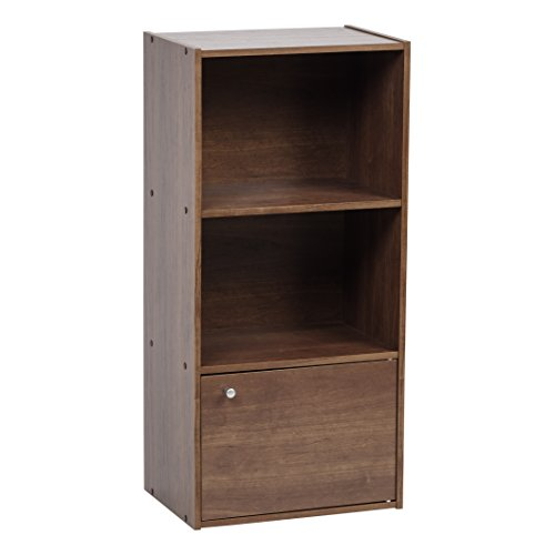 IRIS 3 Tier Wood Storage Shelf with Door, Brown (Shelf Bookcase 2 Deep)