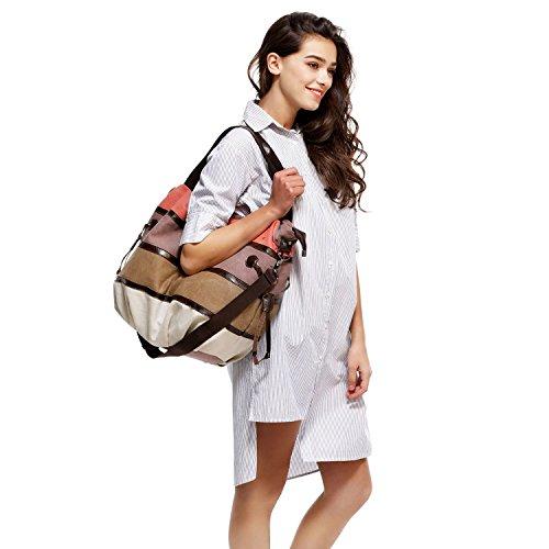 Bandolera de Hombro Aiteen Multicolor Mujer Rayas Style Totalizador Mujer 3 Bolsos Lona 6w650qrt