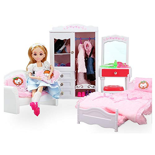 Miniature with Furniture Toy Doll Dream House Bedroom Princess Furniture with Sofa Bed Closet Dressing Table for Barbie Dolls Clothes Accessories -