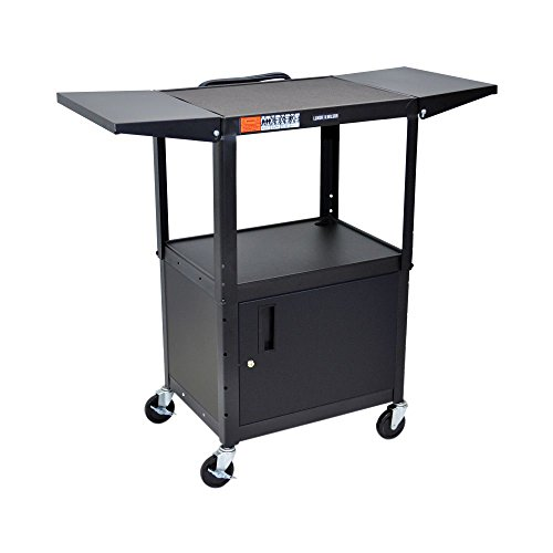 Luxor Multipurpose Height Adjustable Steel AV Utility Cabinet with Drop Leaf Cart - (Steel Welded Multimedia Cabinet)