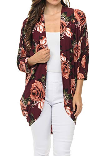(Auliné Collection Womens USA Made Casual Cover Up Cape Gown Robe Cardigan Kimono SFBW1 Rose Bloom FL Burgundy)