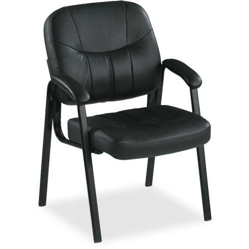 60122 Lorell Chadwick Executive Leather Guest Chair - Leather - Black - Leather Black Seat - Steel Black Frame - 26