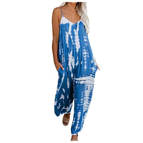 Aritone Women Tie-dye Print Pocket Boho Romper Playsuit Loungewear Overalls Pajamas Sets Strap Jumpsuits Long Pants Nightwear