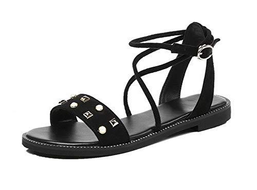 VogueZone009 Women Open-Toe Buckle Imitated Suede Solid Low-Heels Sandals, CCALP015555 Black