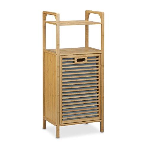 Relaxdays Badregal mit Wäschekorb aus Bambus HBT 95 x 40 x 30 cm Badschrank mit 2 Ablagen für Badaccessoires als Wäschebehälter mit ausklappbarem Wäschesack Wäschetruhe ca. 25 L Wäschebox, natur