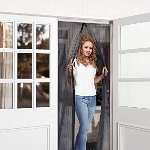 WENFENG Magnetic Screen Door, Heavy Duty Bug Screen Door with Full Frame Velcro Fits Door Size Up to 34 x 82 inch Max - Black
