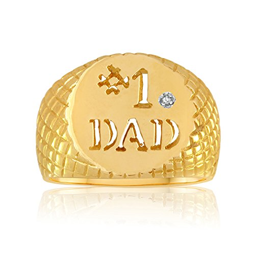 10k Gold Dad Diamond Ring - 4