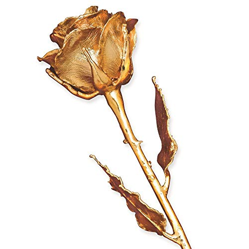 Flowers Artificial from Marchello and Co 24K Gold Dipped Long Stem Genuine Rose in Beautiful Gift Box