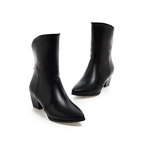 Allhqfashion Women's Pointed Closed Toe Kitten-Heels Soft Material Low-top Solid Boots Black Gsf8OUjN