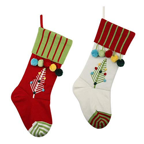 ExcMark 2 Pack 21 inch Knitted Christmas Stocking with Cable Knit Tree and Pumpons in Red Green and White Color (Sew Christmas Stocking Panels To)
