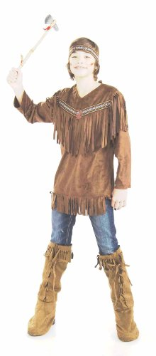 [Forum Novelties Teenz Native American Brave Costume, Brown, Teen Standard] (Male Indian Costumes)