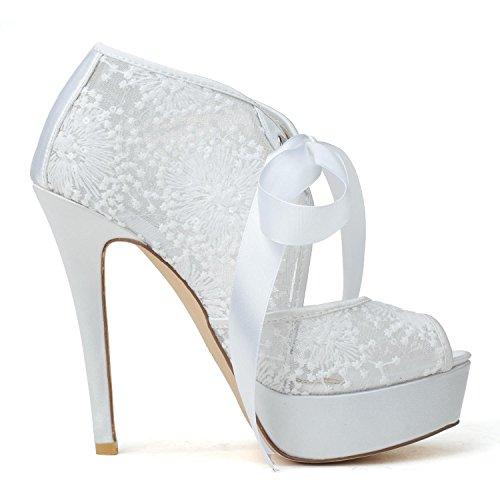L@YC Damen Hochzeitsschuhe & # 3128-29 Lace Pumps Outdoor / Kleidung / Ribbons Schwarz / Pink / Weiß Black