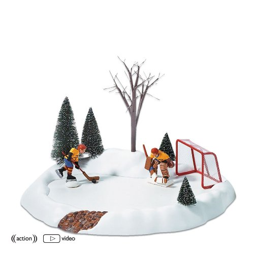 Department 56 Accessories for Villages Hockey Practice Animated Accessory Figurine (Village Villages Snow Accessories 56)