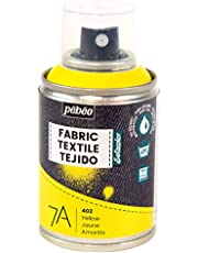 Pebeo - Fabric Paint Spray for Textiles 7A Spray - Natural and synthetic fabrics - Water-based - Solvent-free - Permanent Fabric Dye Machine-Washable - Spray Paint for textile design - 100ml - Yellow
