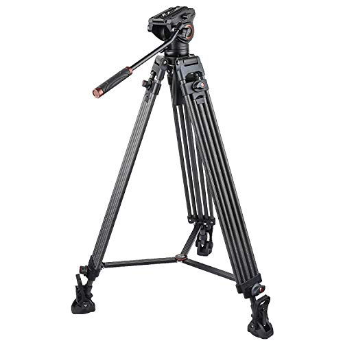 Cayer BV25LH Video Tripod System, 74 inch Carbon Fiber Professional Heavy Duty Camera Tripod Kit, Twin Tube Tripod Leg with K3 Fluid Drag Head, Max Loading 13.2 LB