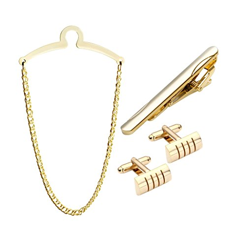Gold Gold Tone Tie Pin (Zysta 4pc Mens Metal Tie Chain + Stainless Steel Tie Clip + Cufflinks Set, Exquisite GQ Classic Tie Bar Chain Clip, Silver Gold Tone, Gift Box)