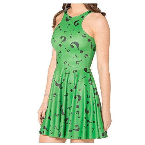 The Riddler Question Tag Green Reversible Skater Dress for Women (Riddler Dress)