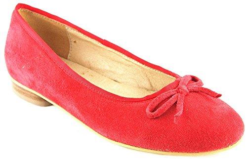 HIRSCHKOGEL Schuhe Halbschuhe Sommer Ballerinas Echt Leder Rot 2116, Schuhgröße:37