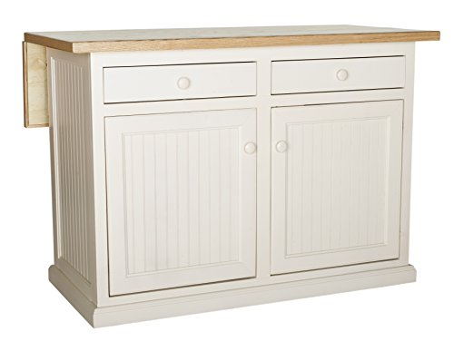 Bead Board Birch Solid Wood - Eagle Coastal Kitchen Island with Flip Up Top and Two Drawers, 51