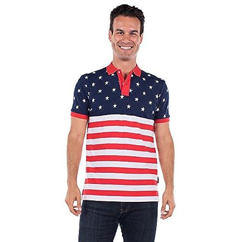 Tipsy Elves Men\u0027s American Flag Polo Shirt: Large