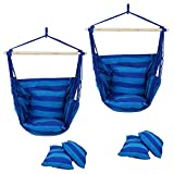 SUPER DEAL Hammock Hanging Chair Air Deluxe Sky Swing Hanging Rope Chair Porch Swing Seat Patio Camping Swing (2PCS)