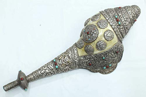 (Rajasthan Gems Silver Conch Shell Trumpet Old Tibetan Turquoise Coral Home)